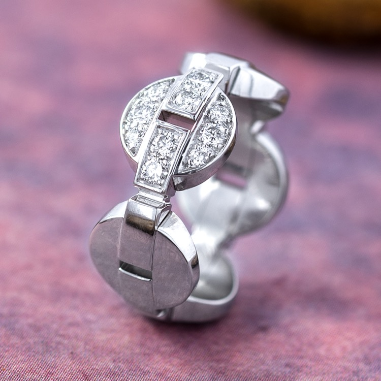 18 Karat White Gold and Diamond Himalia Ring by Cartier