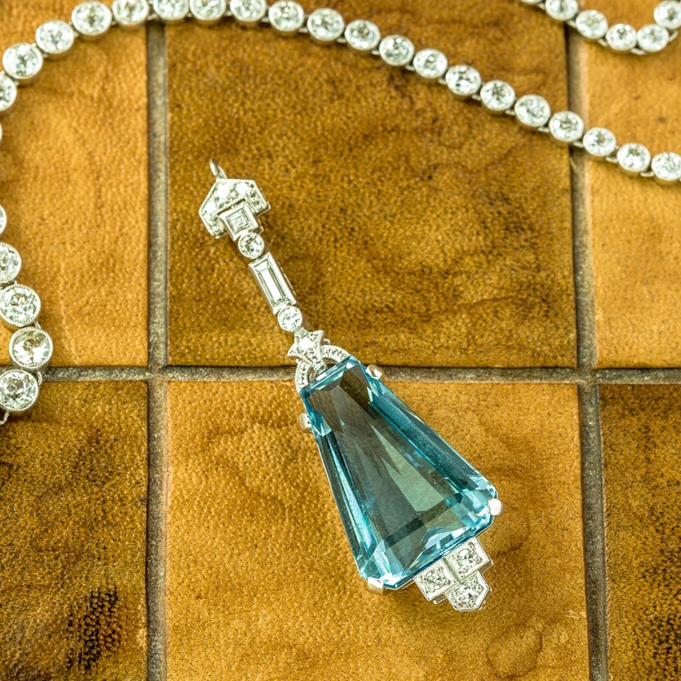 Art Deco Platinum Aquamarine and Diamond Pendant