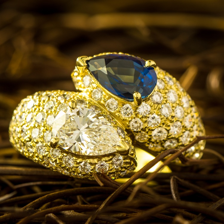 18 Karat Yellow Gold Sapphire and Diamond Bypass Ring by Cartier