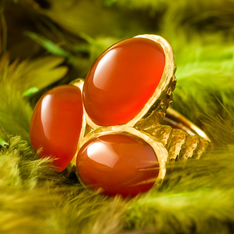 A 18 Karat Yellow Gold Carnelian Ring by David Webb