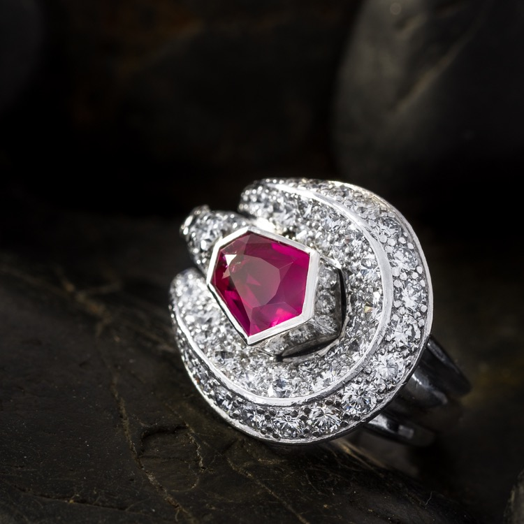 Platinum Ruby Diamond Ring, c 1930s