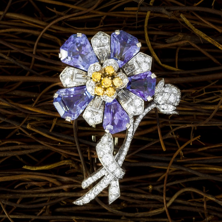 Platinum Sapphire Diamond Brooch by C D Peacock