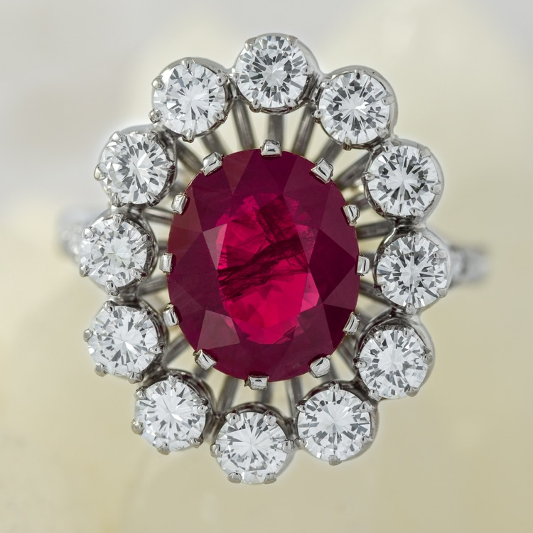 Platinum Ruby Diamond Ring, French