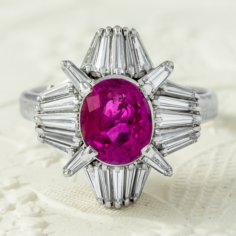 Platinum No Heat Ceylon Pink Sapphire and Diamond Ring