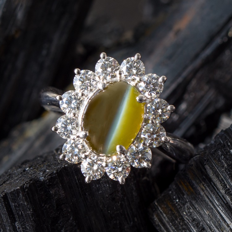 Platinum Chrysoberyl Cats-Eye and Diamond Ring