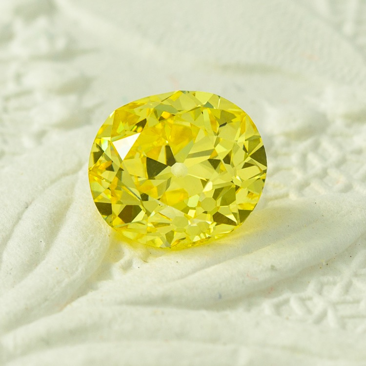 Loose Antique Oval Brilliant Fancy Intense Yellow Diamond