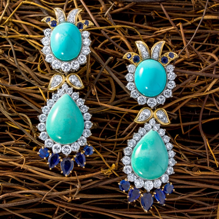18 Karat Gold Turquoise, Sapphire and Diamond Day/Night Earrings