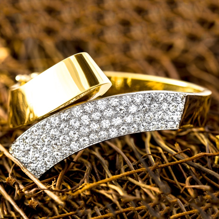 18 Karat White and Yellow Gold Diamond Bangle Bracelet