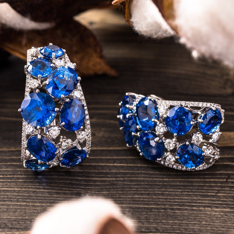 Pair of 18 Karat White Gold Sapphire and Diamond Earrings