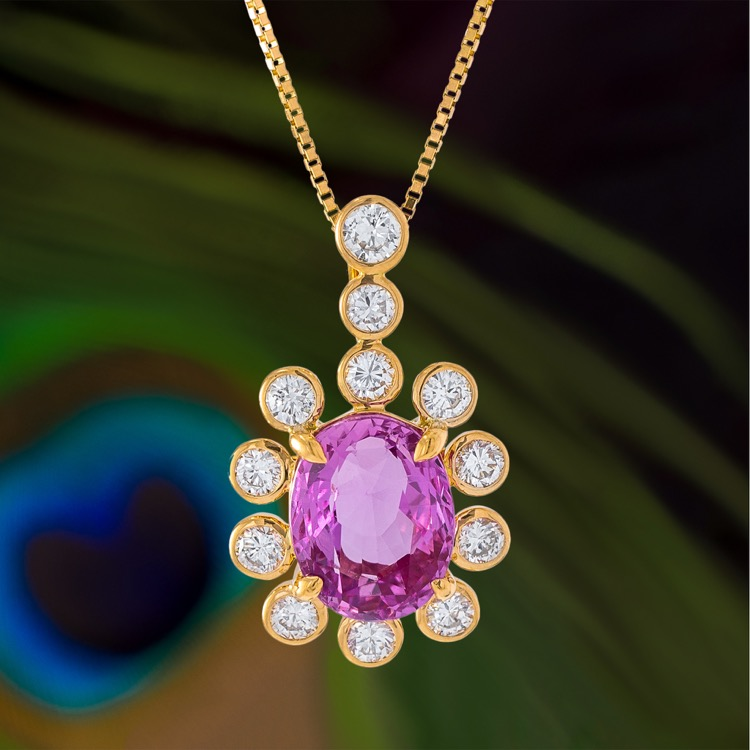 18 Karat Rose Gold, Pink Sapphire and Diamond Pendant Necklace