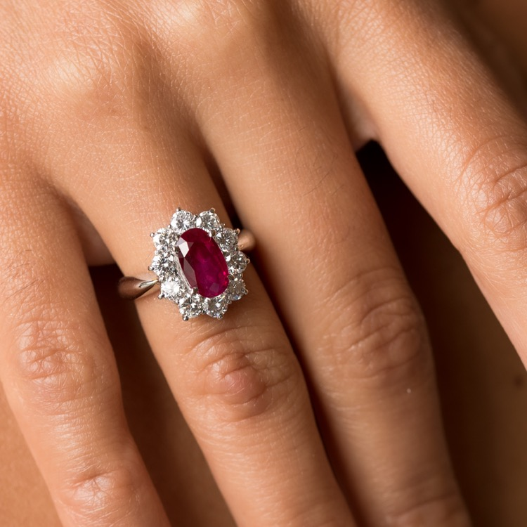 Platinum, Ruby and Diamond Ring