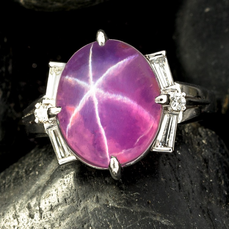 Platinum Pink Star Sapphire and Diamond Ring
