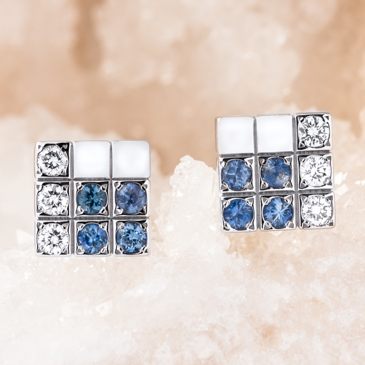 Cartier Lanieres Sapphire Diamond Earrings 18K White Gold