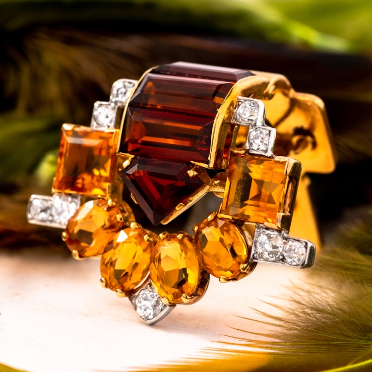 Cartier Retro Citrine and Diamond Dress Clip, London
