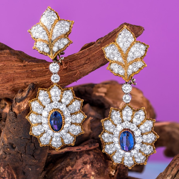 Buccellati Sapphire and Diamond Day/Night Earrings