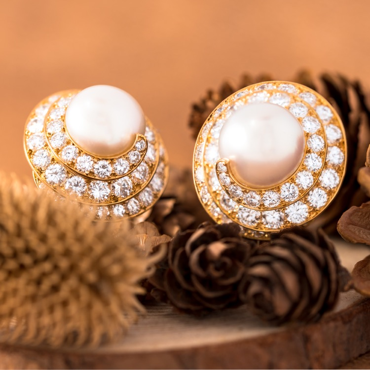 Van Cleef & Arpels Pearl and Diamond Ear Clips