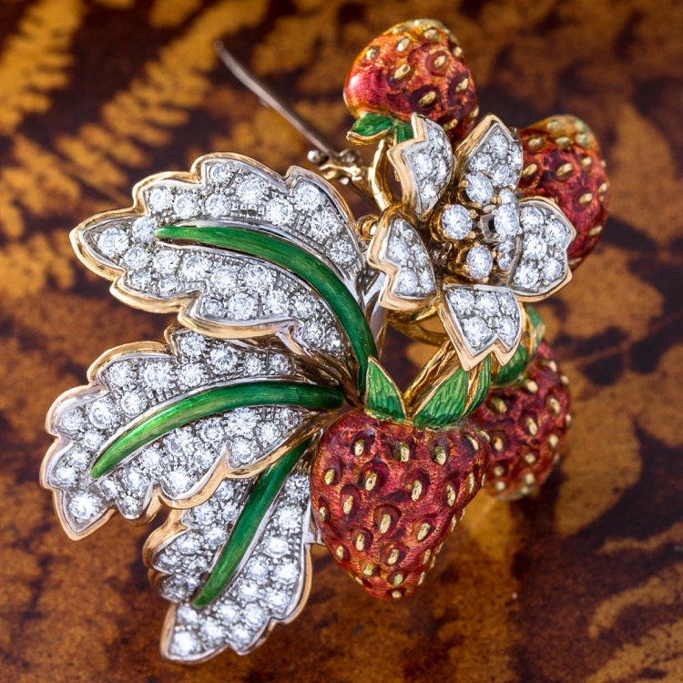 Enamel and Diamond Brooch by Moba