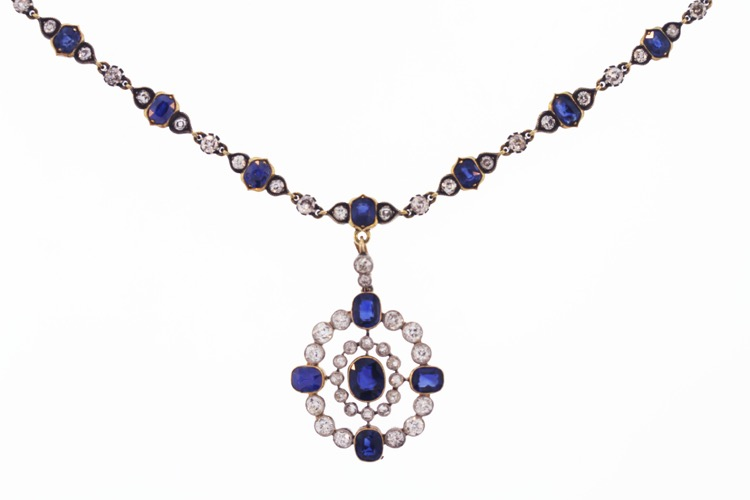 Edwardian Platinum ,Gold, Sapphire and Diamond Necklace, No Heat