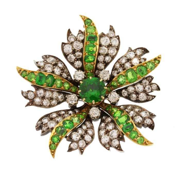 Late 19th Century Gold, Silver, Demantoid Garnet and Diamond Brooch