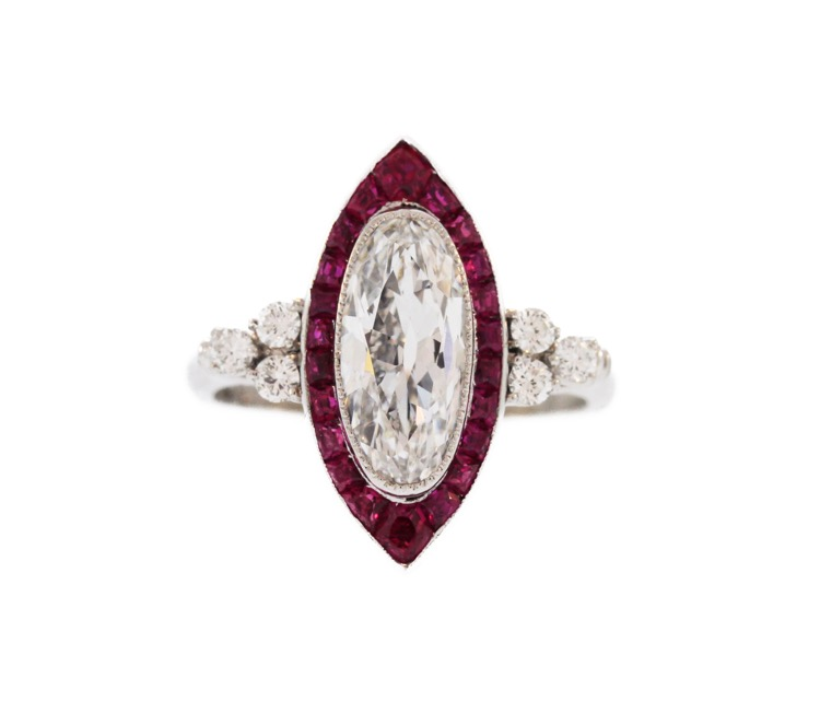 Platinum Art Deco Ruby and Diamond Ring by Birks