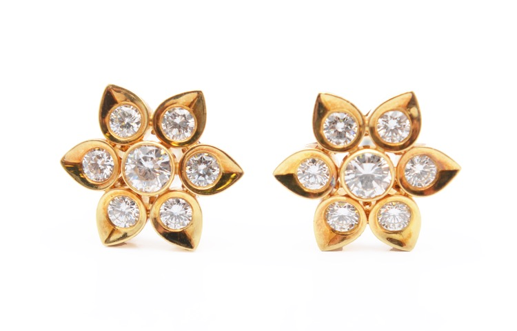 Pair of 18 Karat Gold and Diamond Flower Earclips by Cartier