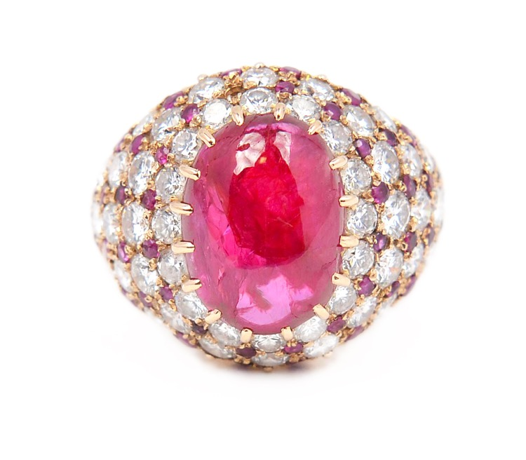 18 Karat Gold, Ruby and Diamond Ring