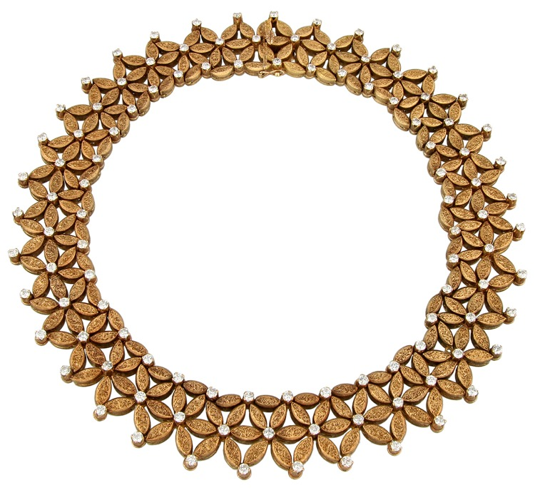 18 Karat Gold and Diamond Necklace by Buccellati, Italy, circa 1960