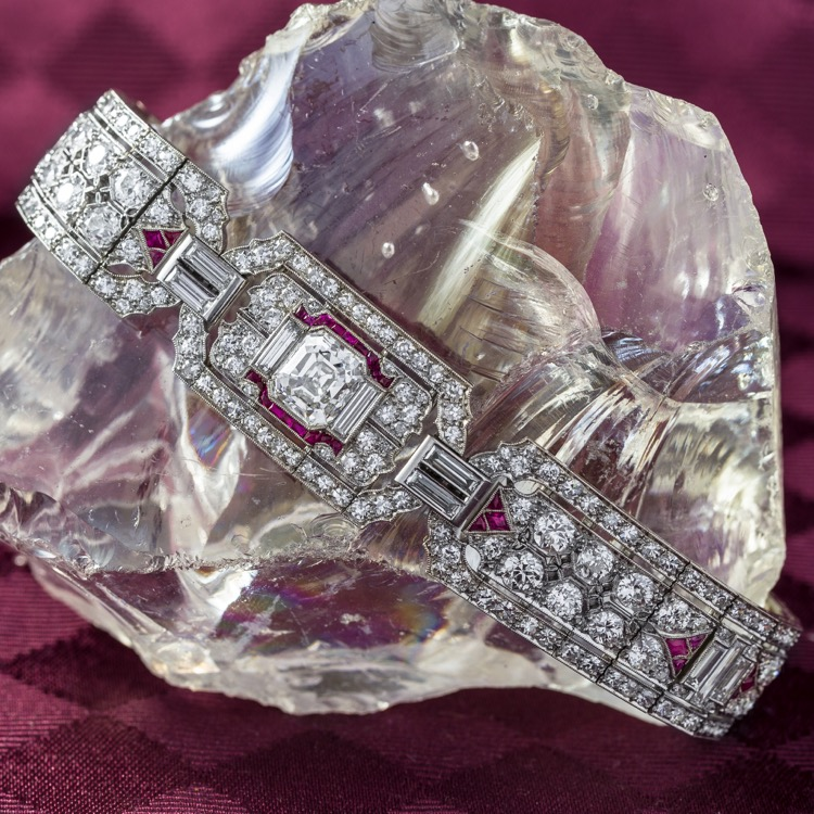 Art Deco Platinum, Ruby and Diamond Bracelet - Image #2
