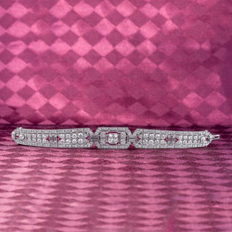 Art Deco Platinum, Ruby and Diamond Bracelet - Image #3