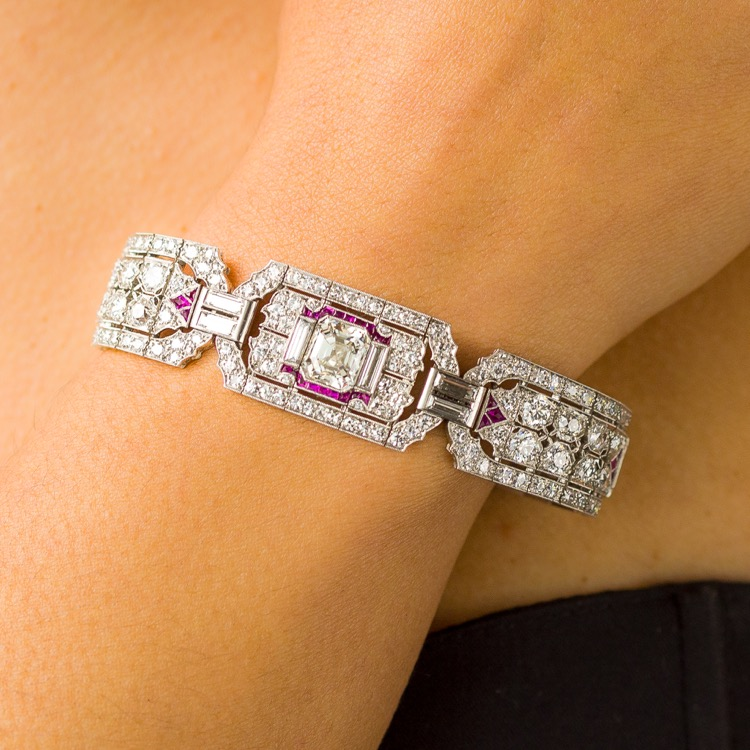 Art Deco Platinum, Ruby and Diamond Bracelet - Image #4