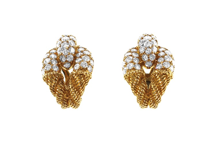 Pair of 18 Karat Gold and Diamond Earclips by Boucheron, circa 1950