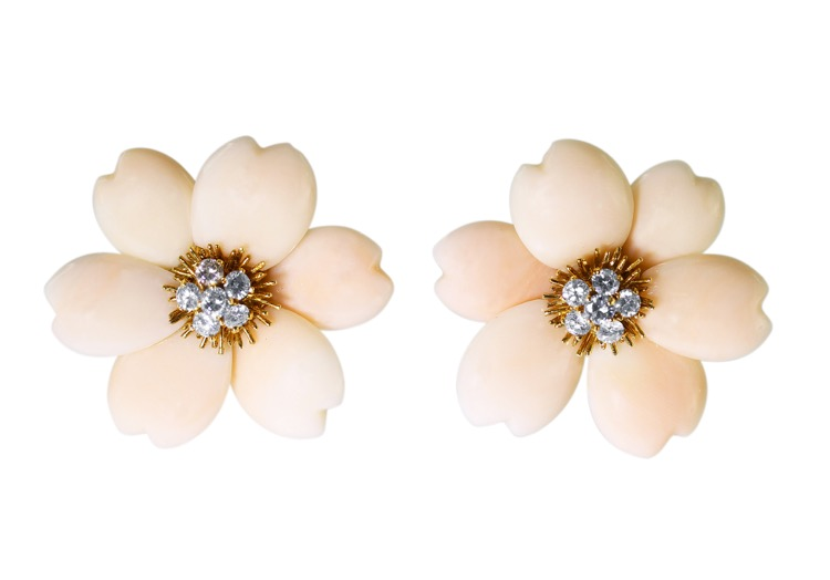 "Pair of 18 Karat Gold, ""Angel Skin"" Coral and Diamond Earclips by Van Cleef & Arpels"