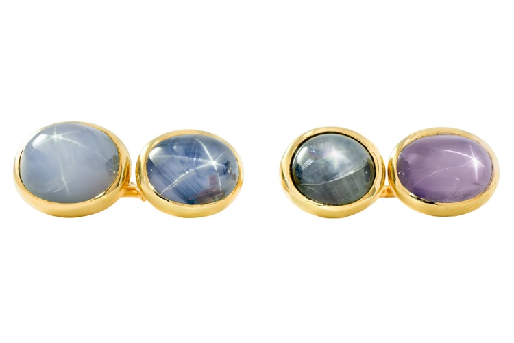 Pair of 18 Karat Yellow Gold Star Sapphire Cufflinks, French