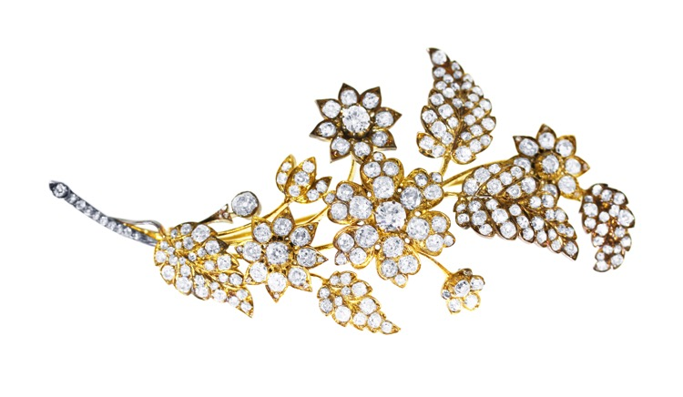 Antique 18 Karat Yellow Gold and Silver Diamond Floral Brooch