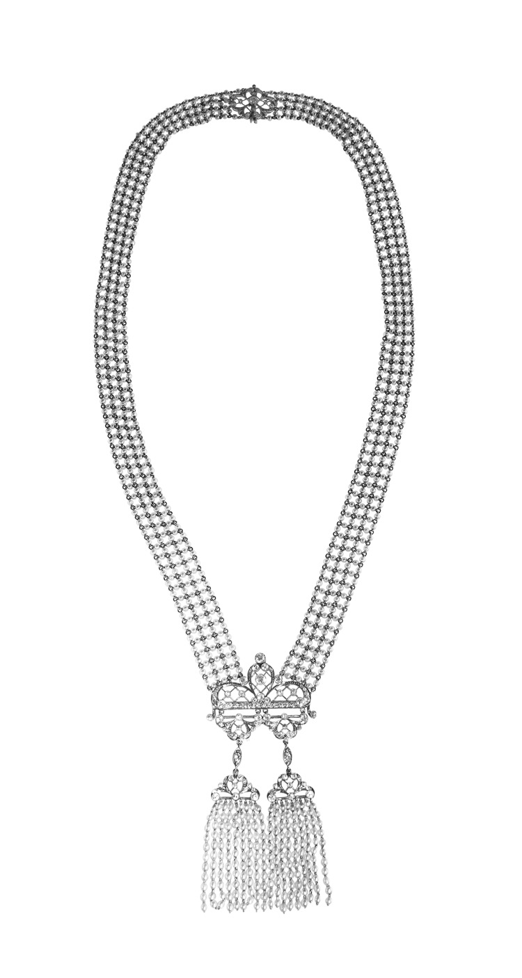 Edwardian Seed Pearl and Diamond Sautoir