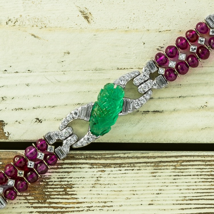 Art Deco Platinum, Carved Emerald, Ruby and Diamond Bracelet