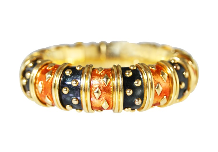 18K Yellow Gold Enamel Bracelet by Schlumberger, French