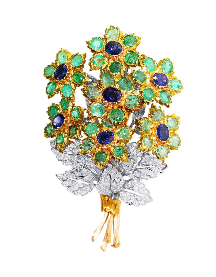 18 Karat Gold, Emerald, Sapphire and Diamond Brooch by Buccellati, Italy
