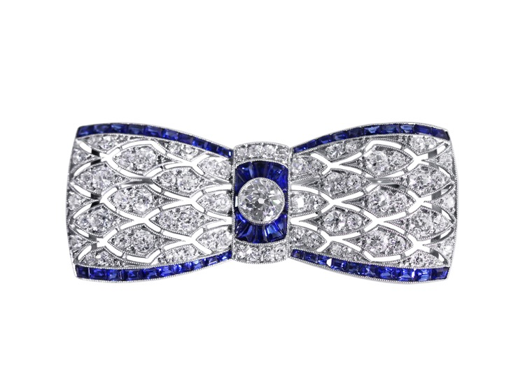 Art Deco Platinum, Sapphire and Diamond Brooch