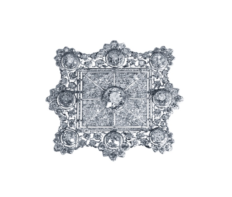 18 Karat White Gold and Diamond Brooch by Mario Buccellati, Italy, circa 1960