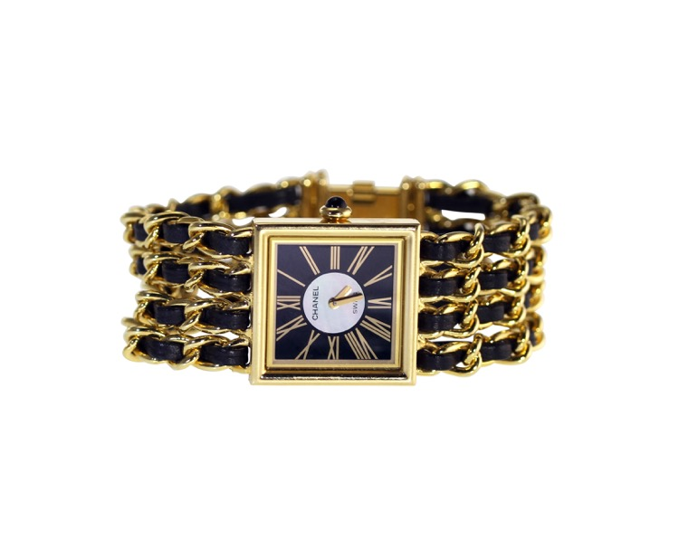 18 Karat Gold, Mother-of-Pearl, Enamel and Leather Wristwatch, Chanel, Paris