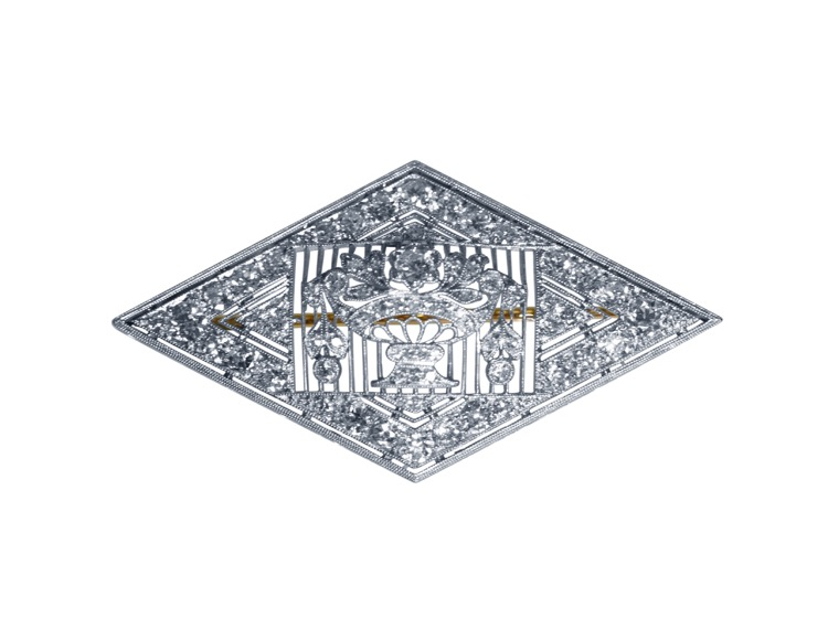 Early 20th Century Platinum and Diamond Brooch by Charlton & Co.