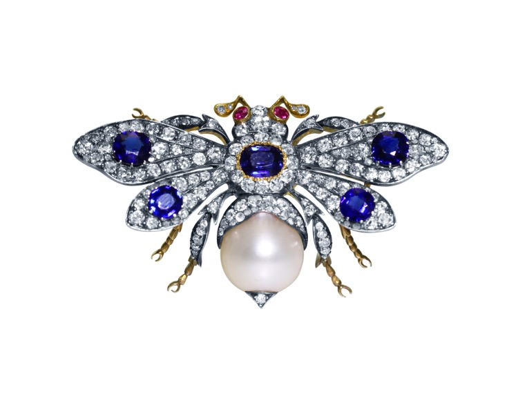Antique Silver-Topped Gold, Sapphire, Diamond, Pearl and Ruby Bumblebee Brooch