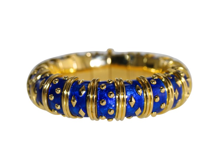 Gold and Blue Enamel Bangle by Schlumberger