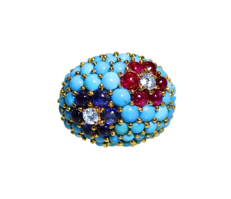 18 Karat Gold, Turquoise, Ruby, Sapphire and Diamond Ring by Carvin French