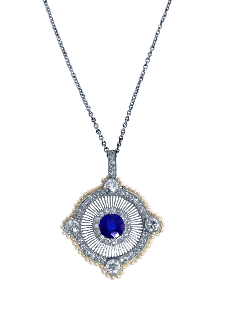 Edwardian Platinum, Sapphire, Diamond and Pearl Pendant-Necklace