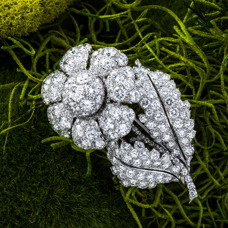 Platinum and Diamond Flower Brooch, c. 1950s