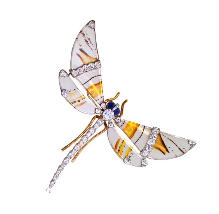 Edwardian Platinum, 18 Karat Gold, Agate, Diamond and Sapphire Dragonfly Brooch