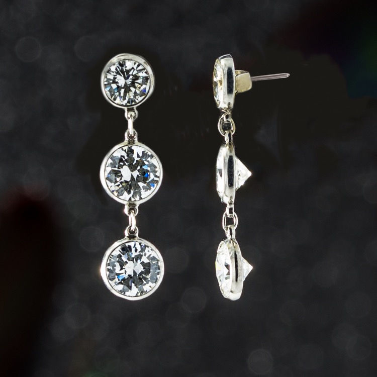 Diamond Dangle Earrings, Handmade Platinum