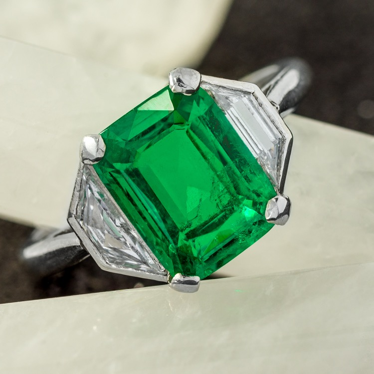 Platinum Colombian Emerald and Diamond Ring, c. 1940s